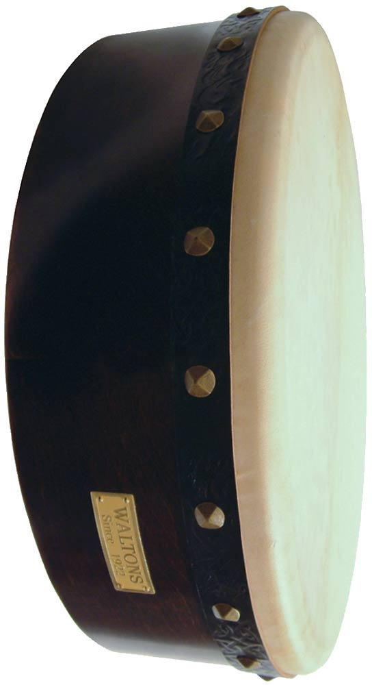 Waltons 15inch Bodhran Player's Pack Dark brown finish. Bodhran pack with cover, beater and tutor DVD. Single strut