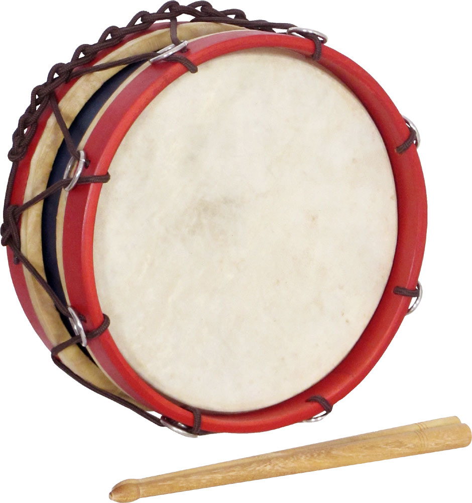 Atlas 8inch Tabor Drum, Handheld Hoop Rope Tensioned. 4 1/2inch deep. Colored Red and Blue