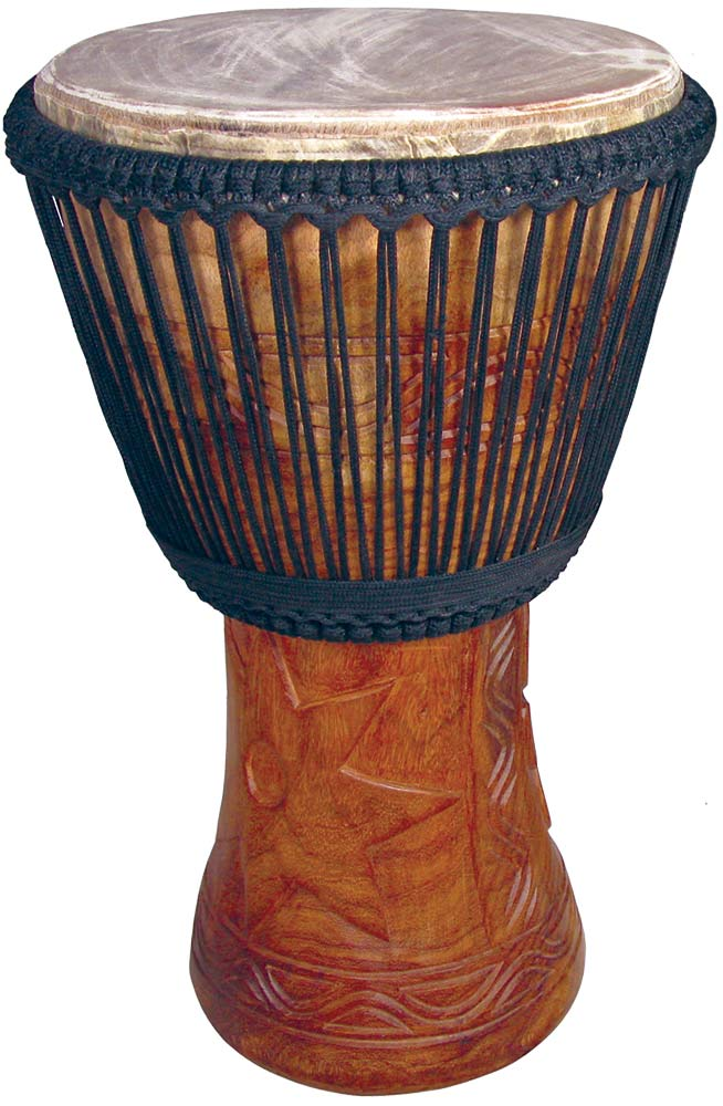 Atlas Professional 13inch Djembe Double weaved gives brilliant tuning and a great dynamic range. Black rope