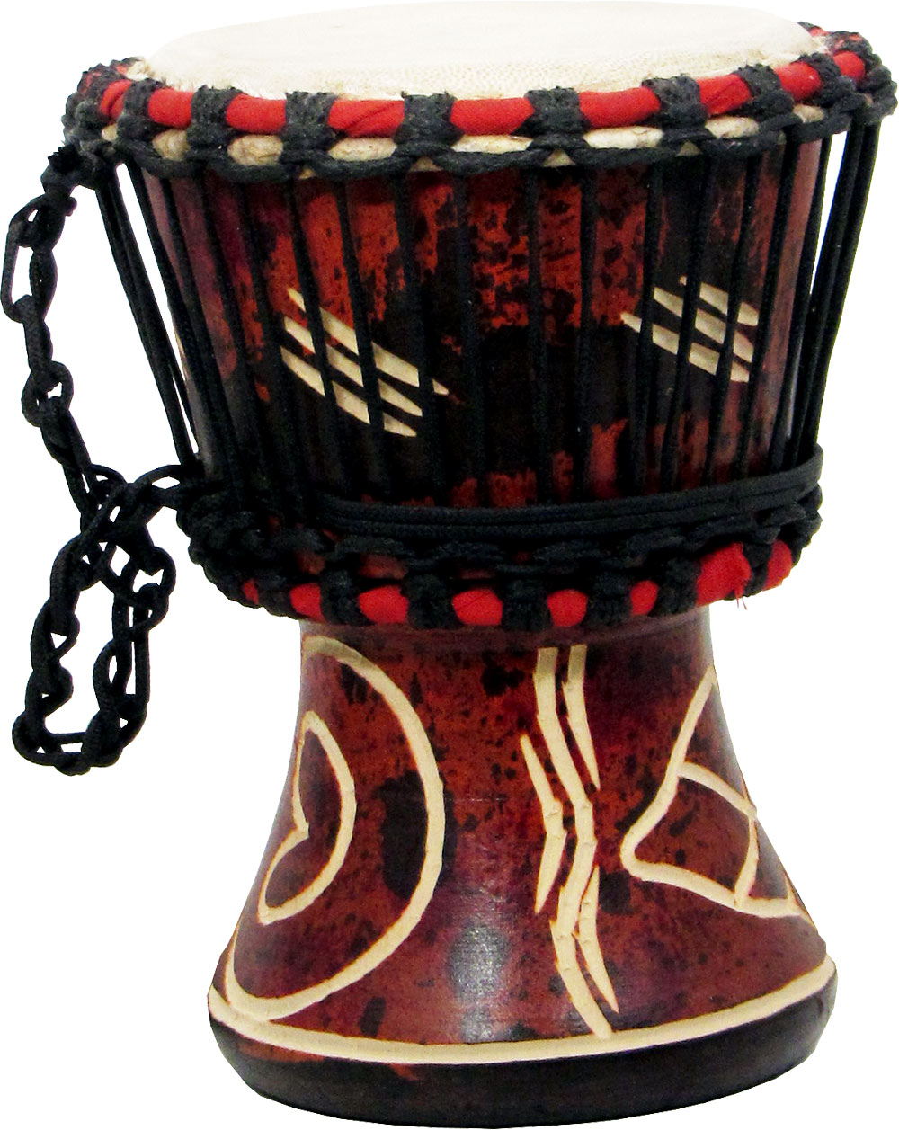 Atlas Djembe 4inch Head, Wooden Body Dark colored shell with carving. Average 7inch high