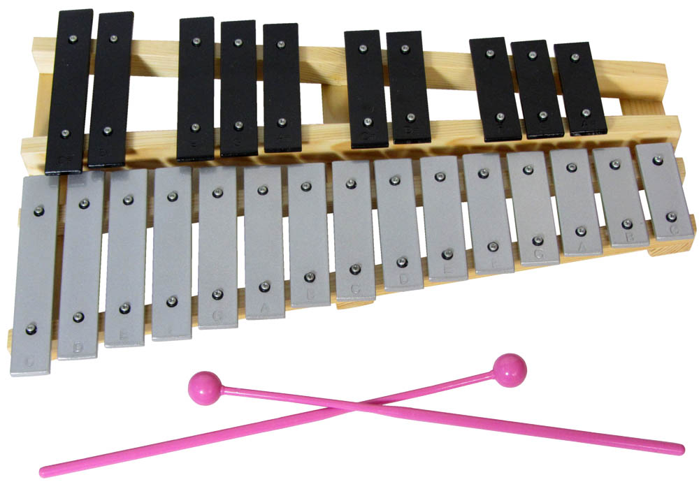 Atlas 25 Note Metallophone 2 octaves from C to C. Silver colored bars for the white notes