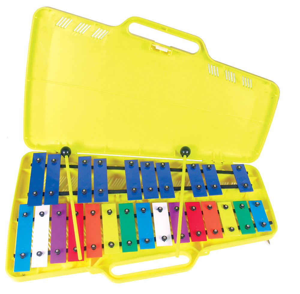 Atlas 2 Octave Glockenspiel G to G, 27 multi colored metal bars, fully chromatic, with beaters and case