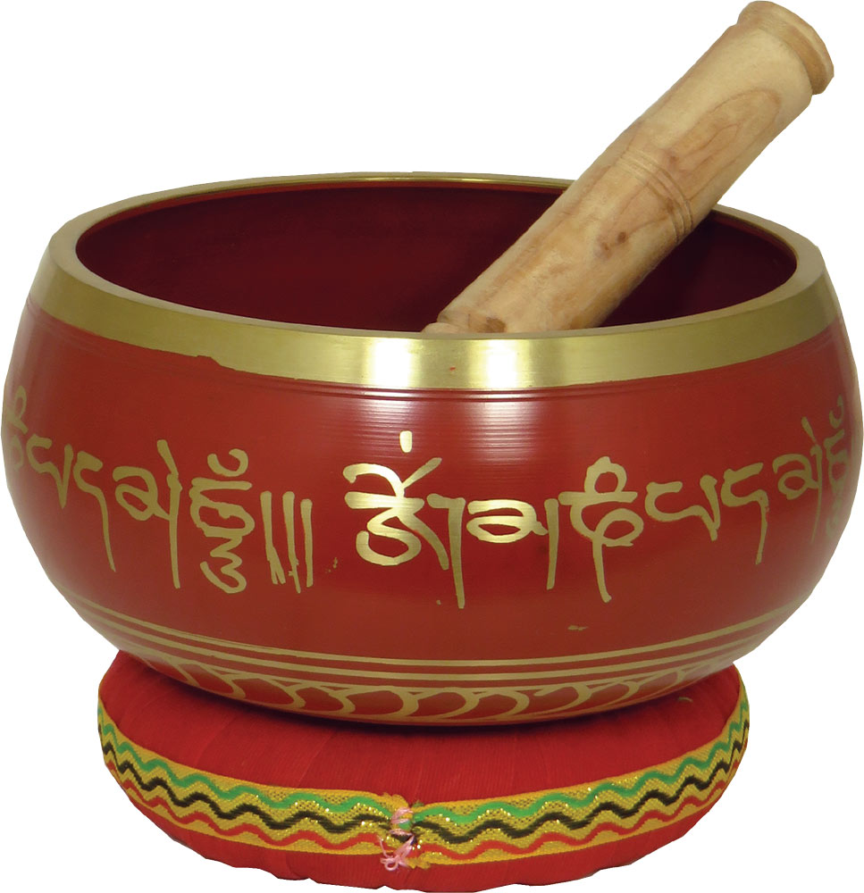 Atlas Singing Bowl, 6inch in Red Decorated in red made from brass. With stick and colored cushion (Sold singly)