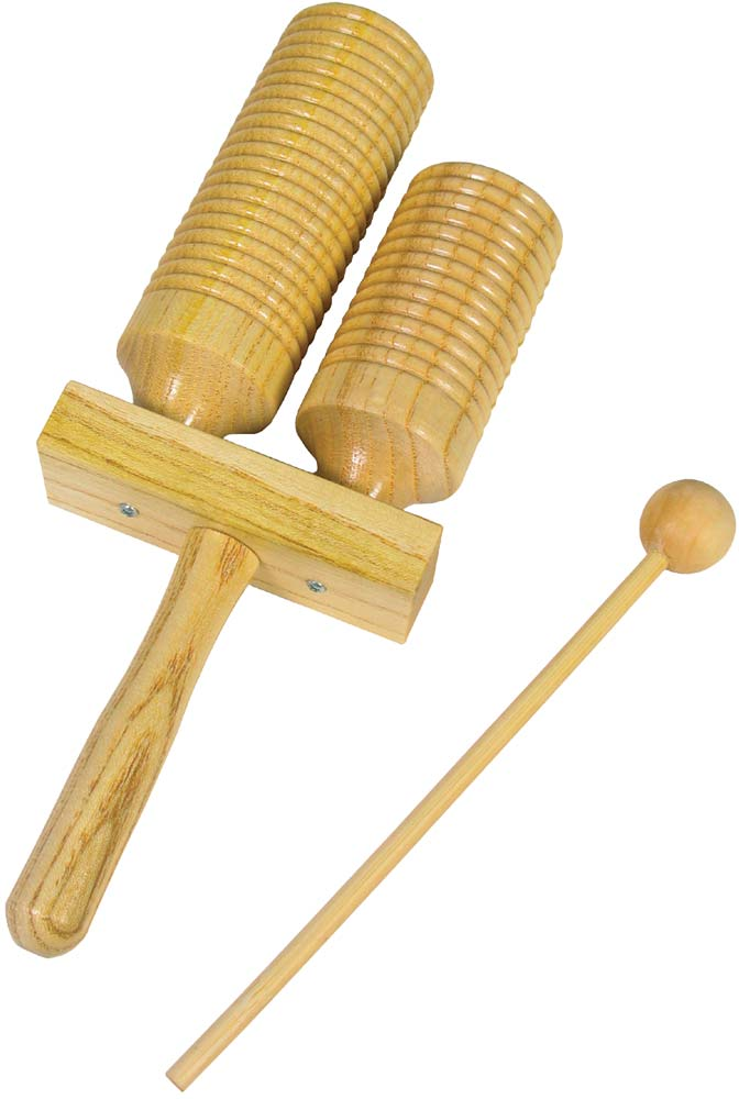 Wooden AGOGO Percussion 2 BELL Double Tone w// Beater