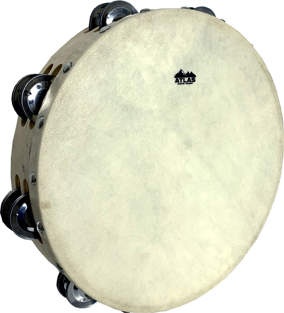 Atlas Tambourine10inch, Double Jingle Headless 10'' Tambourine with wooden rim and two rows of jingles