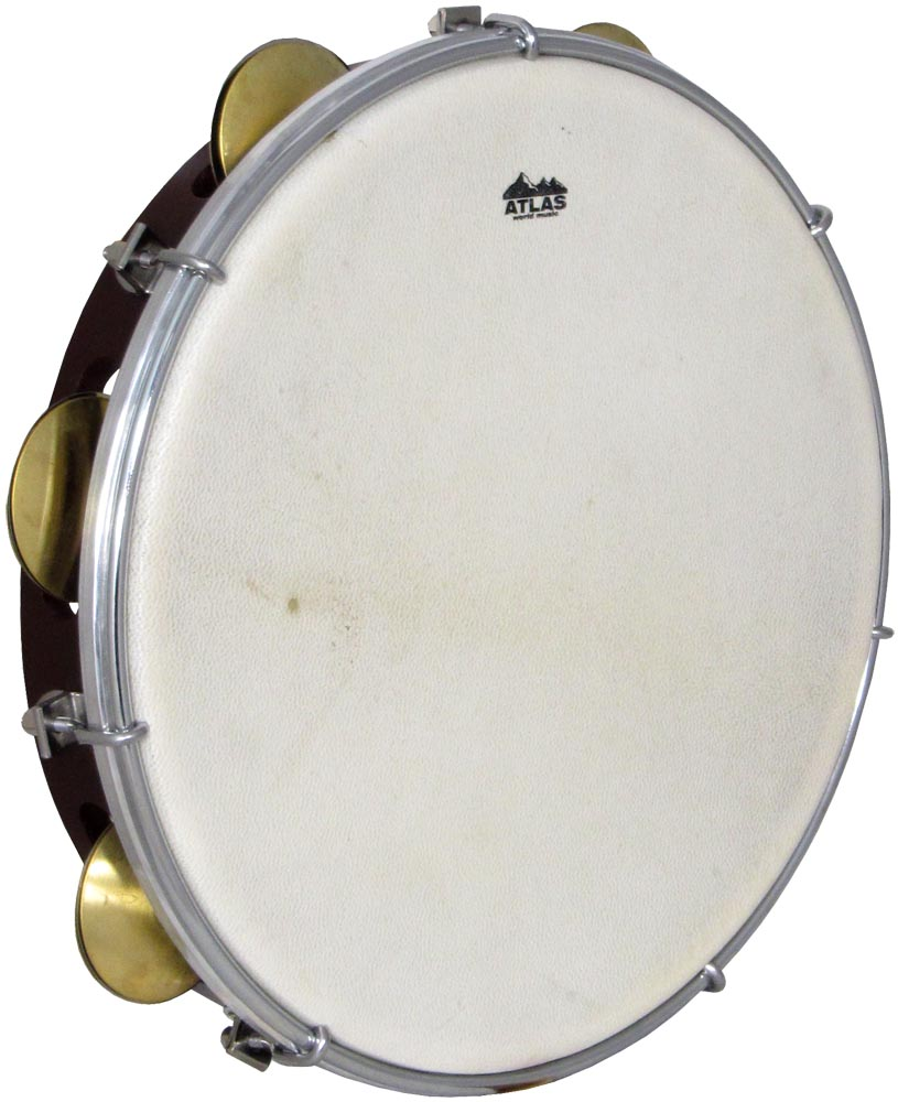 Atlas 10inch Maple Tambourine, Single Brown stained maple wood shell with sheep skin head