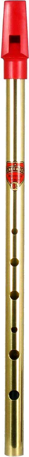 Brass Bb Generation Whistle Tin whistle with a red plastic mouthpiece