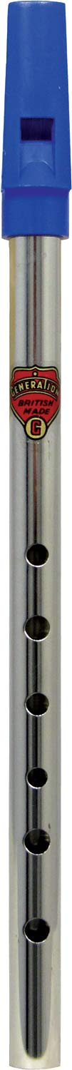 Generation Nickel G Whistle Tin whistle with a blue plastic mouthpiece