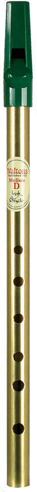 Waltons Irish Mellow D Whistle, Brass In brass with a green plastic mouthpiece