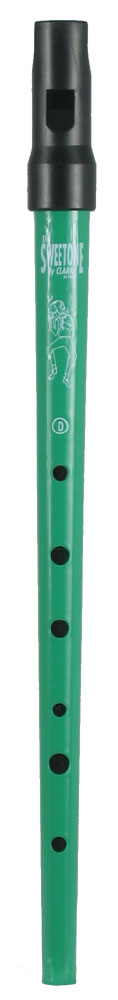 Clarke Sweetone High D Whistle, Green Traditional tapering tin tube with moulded black plastic mouthpiece
