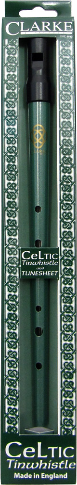 Clarke High D Whistle, Celtic Design Green finish.Traditional tapering tin tube with moulded black plastic mouthpiece