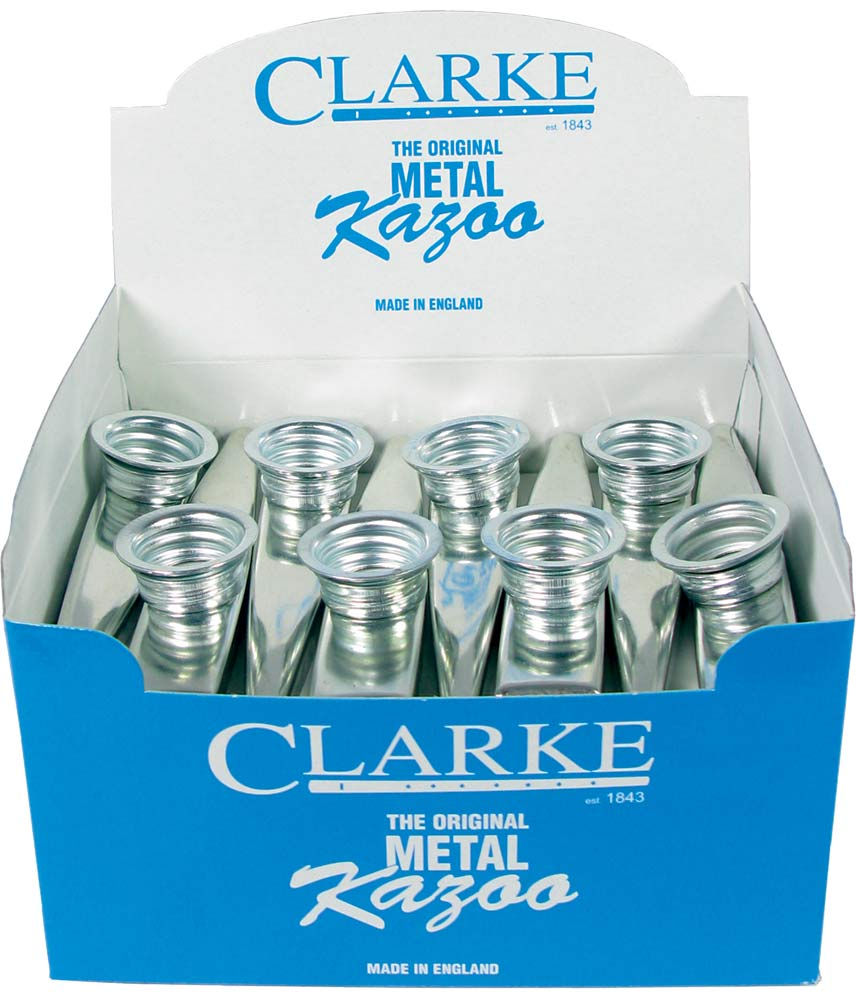 Clarke Metal Kazoo, Box of 24 Silver colored, good quality