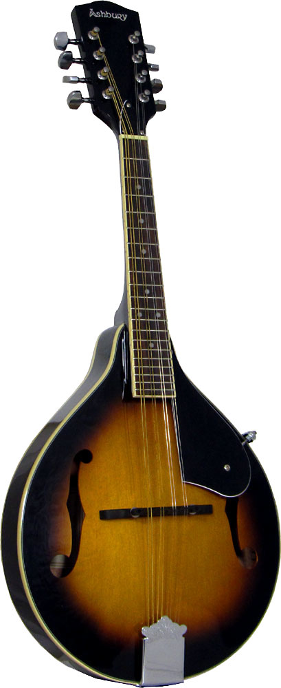 Ashbury AM-10 A Style Mandolin, Sunburst Spruce top, mahogany body. f-hole model, brown sunburst finish.