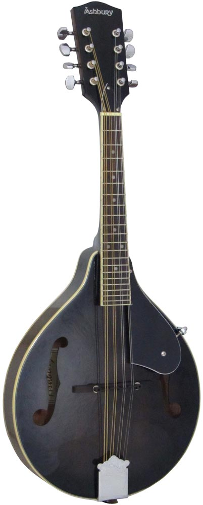 Ashbury AM-10 A Style Mandolin, Black Spruce top, mahogany body. f-hole model, translucent black