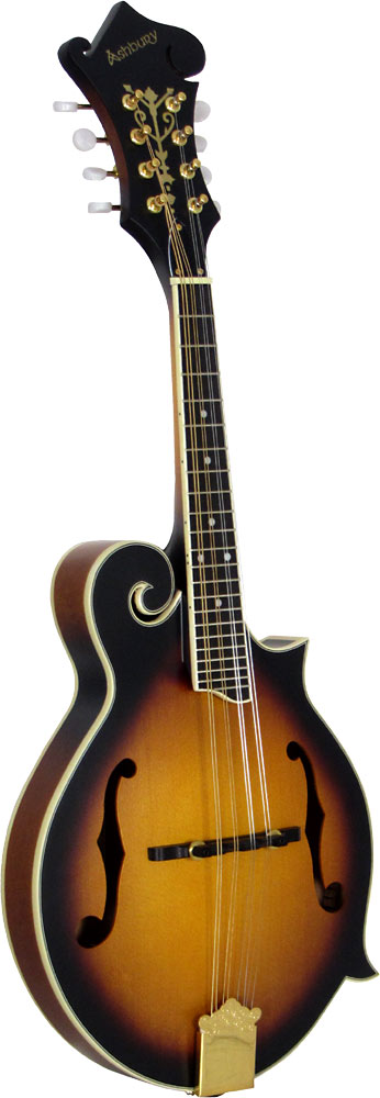 Ashbury AM-310 F Style Mandolin, Sunburst Bluegrass Scroll Mandolin, Matt Sunburst, F sound holes.
