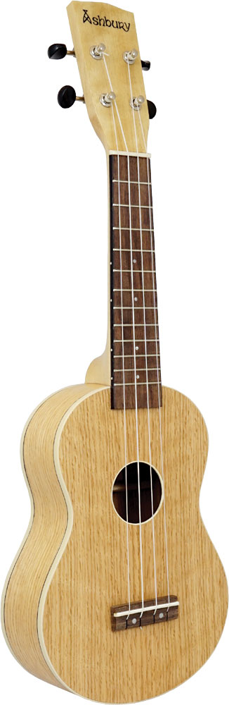 Ashbury AU-40 Soprano Ukulele, Flamed Oak Flame oak top, back and sides. Satin finish. Aquila strings