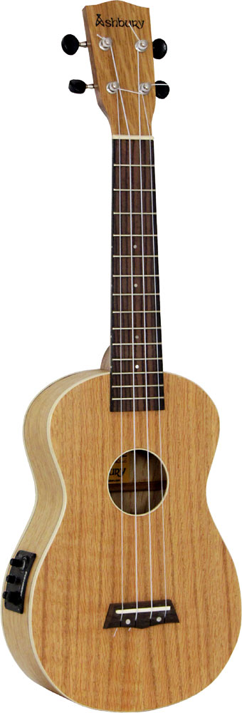 Ashbury AU-40 Concert Uke, Electro Acoustic Cutaway with Fishman Kula uke pickup. Flame oak top, back and sides