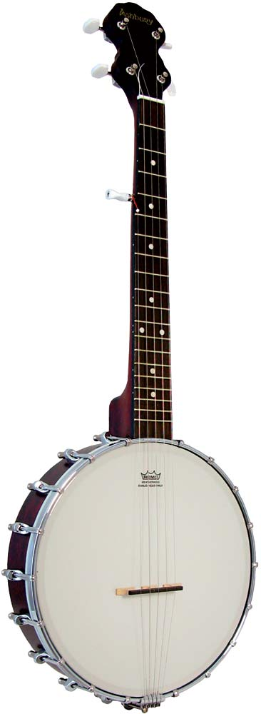 Ashbury AB-15 5 String Travel Banjo 19 fret, open back with a mahogany rim and neck. Remo 11inch banjo head.
