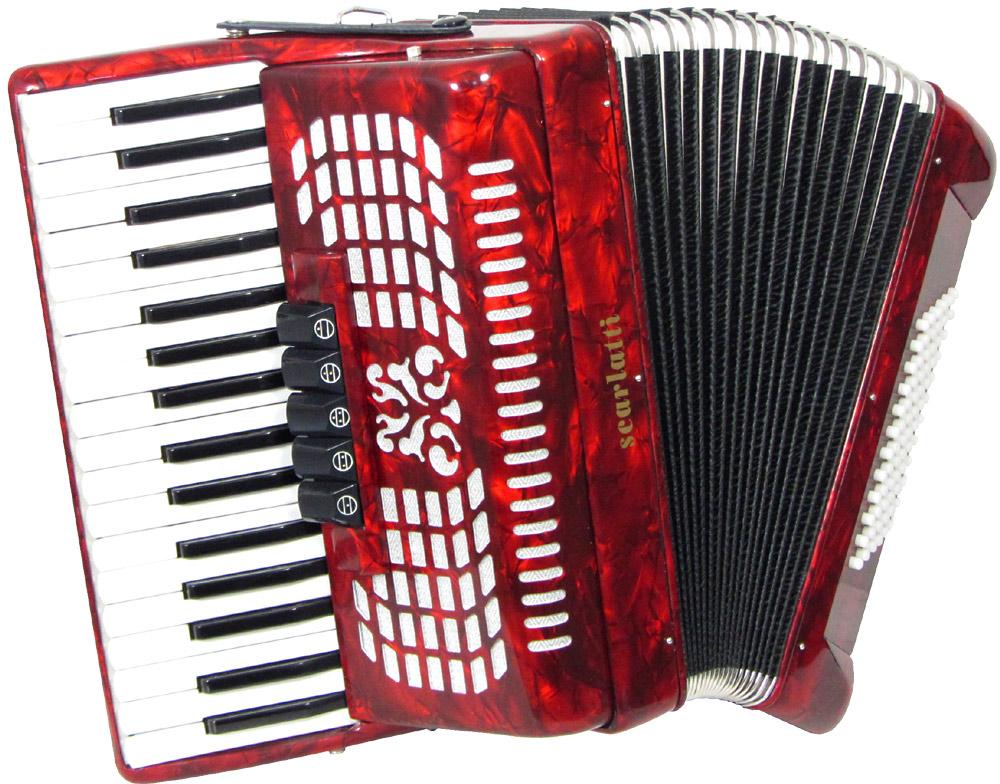 Scarlatti Piano Accordion 72 Bass Red Hobgoblin Music Usa