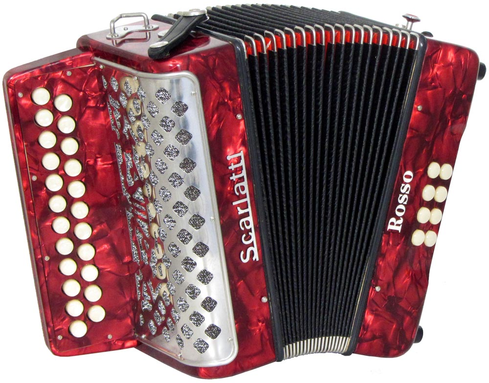 Scarlatti Rosso B/C Melodeon, Czech Durall Reed 23 treble buttons, 8 bass buttons. 2 voice, bass coupler, red finish