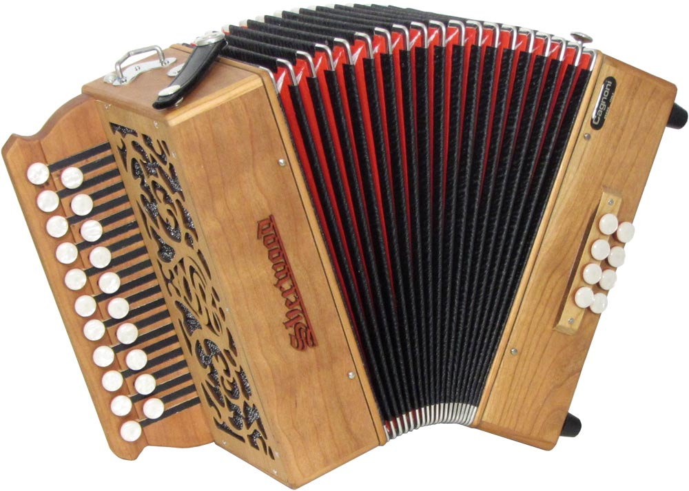 Sherwood Shire II D/G Melodeon, Cagnoni Reeds 2 row model with 21 treble buttons. 2 voice. 8 bass buttons with bass stop