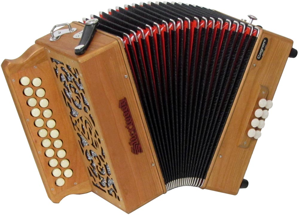 Sherwood Howe II B/C Melodeon, Cagnoni Reeds 2 row model with 21 treble buttons. 2 voice. 8 bass buttons with bass stop
