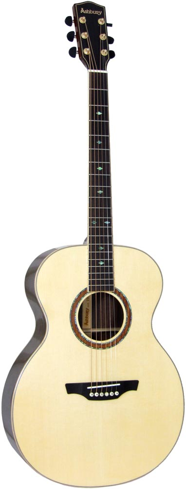 Ashbury AG-165 Parlour Guitar, Solid Spruce Solid engelmann spruce top with 2 piece rosewood back with maple center strip