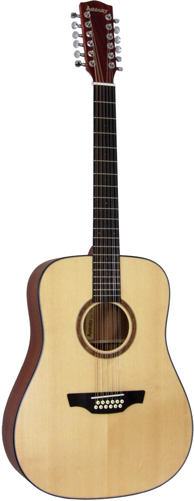 Ashbury AG-48 Dreadnought Guitar, 12 string Dreadnought body with a Solid spruce top and mahogany back and sides