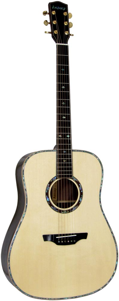 Ashbury AG-380 Dreadnought Guitar, All Solid Solid AAA spruce top,  2 piece Solid AAA rosewood back with maple center strip