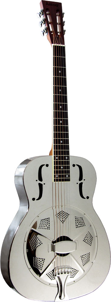 Ashbury AR-46 Resonator Guitar, Single Cone Brass bodied, chrome plated, single biscuit cone