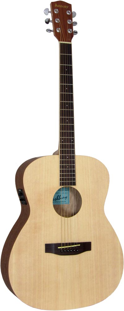 Ashbury AG-30 Electro Acoustic Guitar, Nat Electro acoustic with a natural spruce top with mahogany 000 body