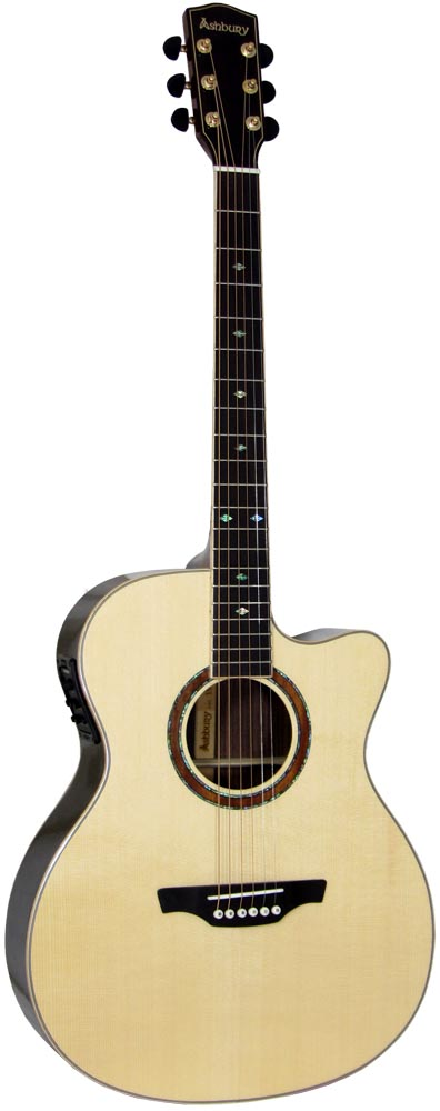 Ashbury AG-160 000 Acoustic Guitar, Electro Solid engelmann spruce top with 2 piece rosewood back with maple center strip