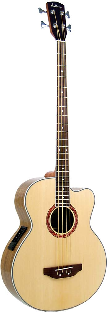 Ashbury AGB-45 Electro Acoustic Bass Guitar Electro acoustic with cutaway and Belcat 4 band EQ.