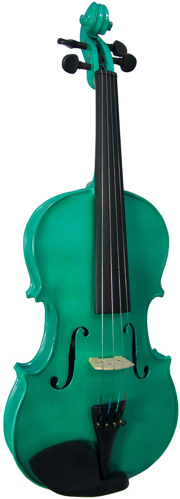 Blue Moon VG-105 Green Violin, 3/4 Size Metallic green finish violin outfit, Solid spruce top, maple body
