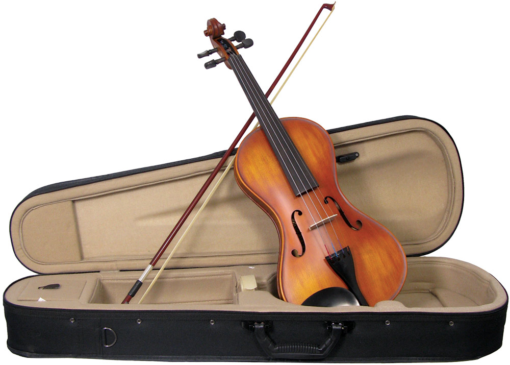 Valentino VM-150 Full Size Smooth Violin outfit Cornerless violin, solid spruce top, flamed maple body, ebony fingerboard