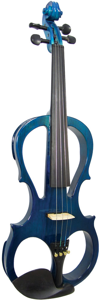 Valentino VE-008 Electric Frame Violin, Blue Full size. Frame style quiet electric violin complete with headphones