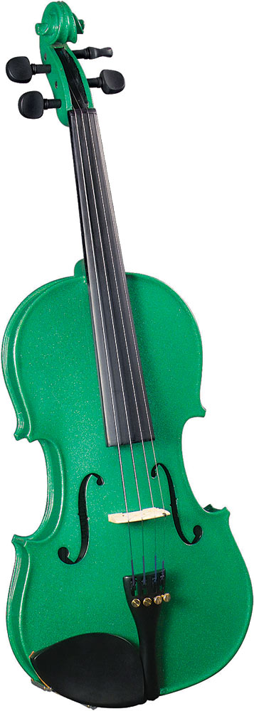 Cremona SV-75 3/4 Size Violin Outfit, Green US-made Prelude strings, the educator's preferred strings for students