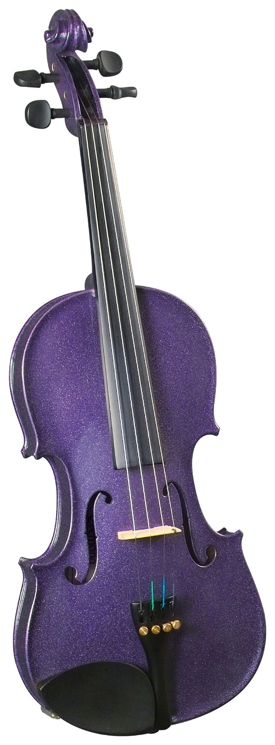 Cremona SV-75 3/4 Size Violin Outfit, Purple US-made Prelude strings, the educator's preferred strings for students