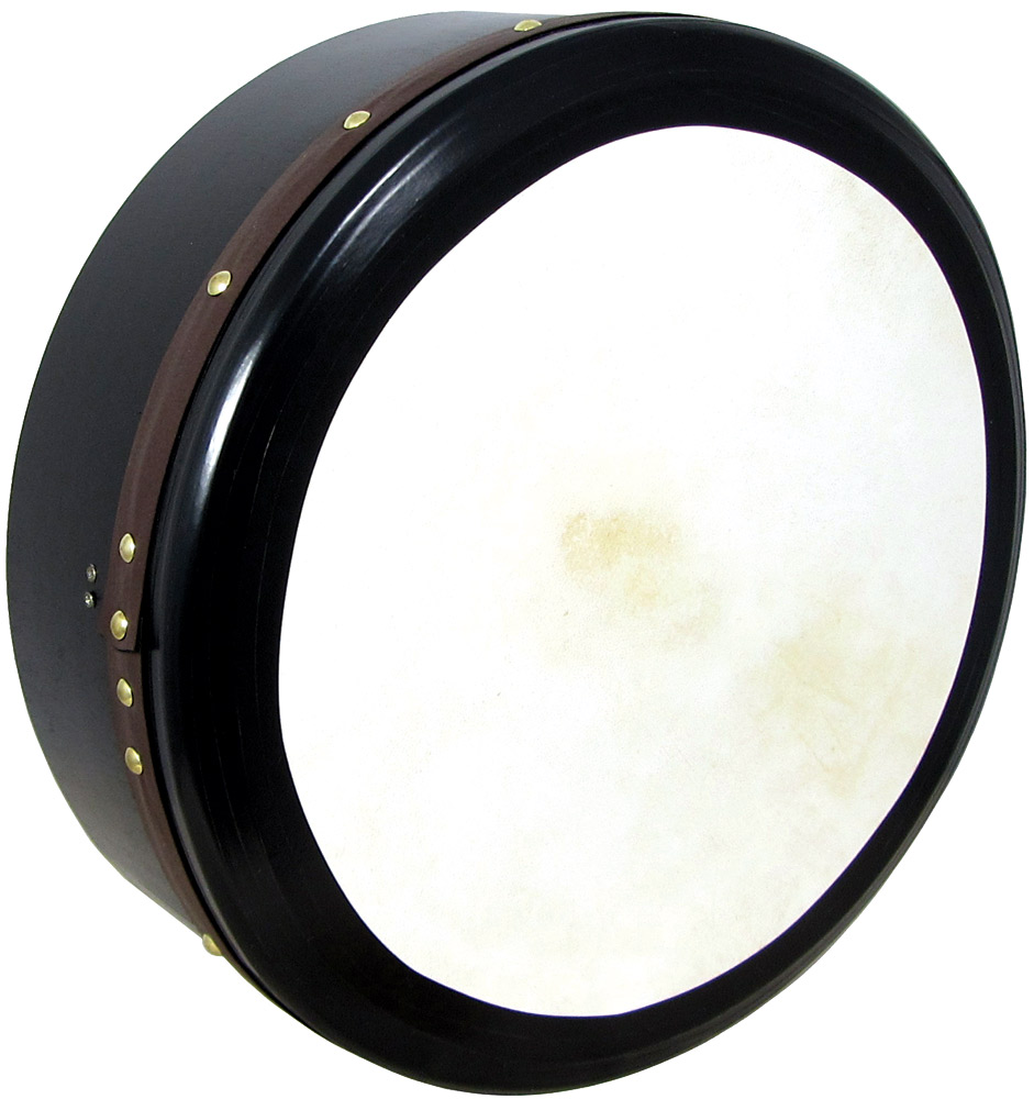 Vignoles 16inch Irish Bodhran, Deep Tuneable, 6inch deep, single strut, taped edges, dark stained wood