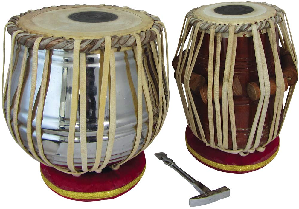 Atlas Set of Tabla Drums Chrome plated brass Dagga with cushions and hammer