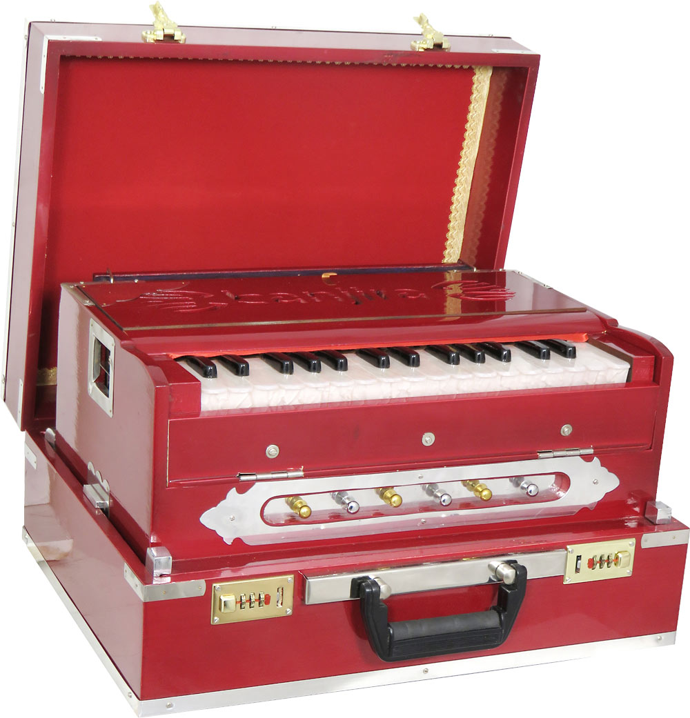 Atlas 2 1/2 Octave Harmonium Range is C to F. 3 drones and 2 voices. Brass reeded