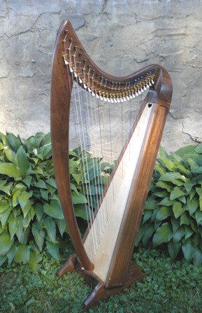 Even Song Harp, Full Truit Evensong Therapy harp, Fin,  26 strings, Full Truit levers, Walnut or Cherry.