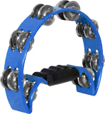 Atlas Half Moon Tambourine, Blue Blue. Sturdy Tambourine with a chunky plastic handle