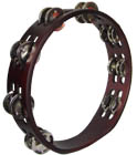 Atlas 10inch Pro Tambourine, Headless Double row of bright jingles on a brown finished wooden frame