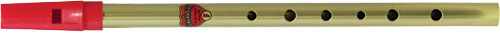 Generation Brass F Whistle Tin whistle with a red plastic mouthpiece