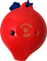 Langley 6 Hole Ocarina, Red Made from ABS plastic. The 6 hole model plays an octave from Low D to High E