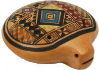 Atlas Inca Ocarina from Peru 8 hole pottery ocarina with a colorful design