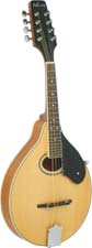 Ashbury AM-50 A Style Mandolin, Natural Solid spruce top, maple body with oval soundhole. Natural finish