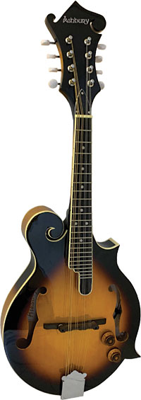 Ashbury AM-380 Electro F Style Mandolin, S/B Electro Acoustic Mandolin with tone and volume controls, Sunburst finish