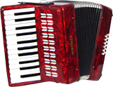 Scarlatti Piano Accordion, 12 Bass. Red Red pearl finish. 2 voice, 25 treble keys, G to G with straps